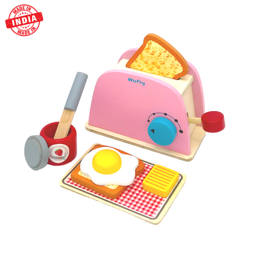 Buy Wufiy Wooden Pop-Up Toaster Set Pretend Play Toy - GiftWaley.com