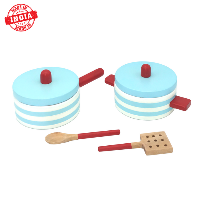 Buy Wufiy Wooden Pot & Pan With 2 Spoons Pretend Play Toy - GiftWaley.com
