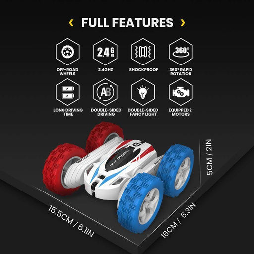 4+ years DEERC RC Cars 4WD Off Road Stunt RC 360° Rapid Rotation Drift Car 2.4GHz Remote Control Car With 2 Batteries 40 Mins Play Time AwsomU