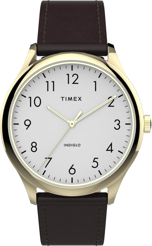 Watches Timex TW2T71600 Men's Modern Easy Reader   40mm Brown Leather Strap Watch AwsomU