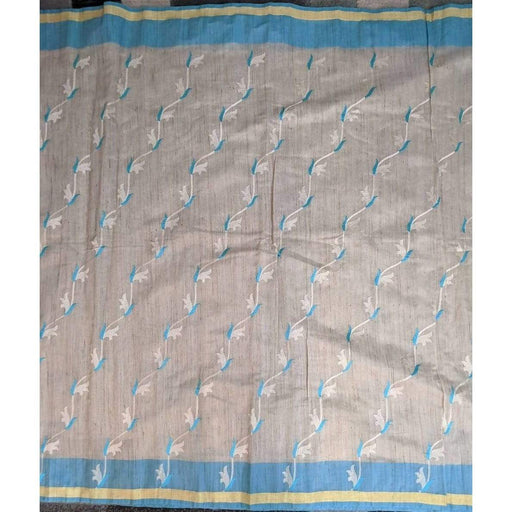 Boutique Sarees Blue and Off White Embroidered Jute Silk Saree with Blouse Piece Fall Pico AwsomU