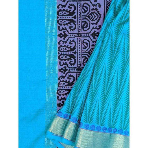 Boutique Sarees Green and Blue Handloom Saree with Blouse Piece AwsomU
