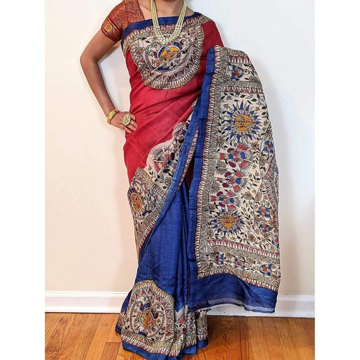 Boutique Sarees Handpainted Madhubani Tussar Silk Saree AwsomU