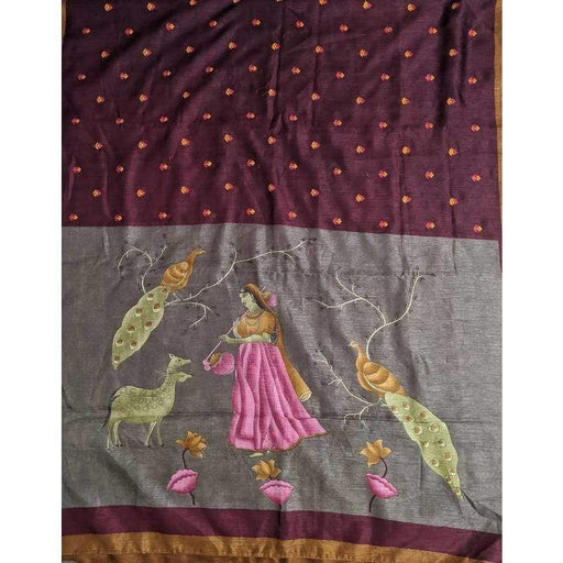 Boutique Sarees Jute Embroidery Saree with Blouse Piece Fall and Pico AwsomU