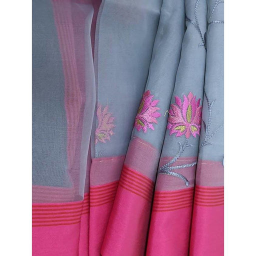 Boutique Sarees Kosha Silk Embroidery Saree in Grey and Pink with Bouse Piece AwsomU