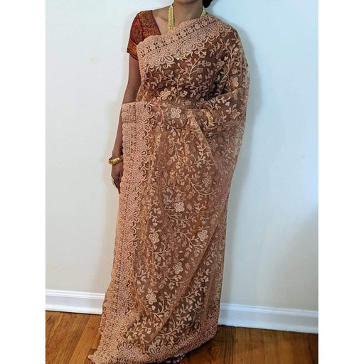 Boutique Sarees Stunning Pink Net Saree with Heavy Pearls Handwork with Bouse Piece Fall Pico AwsomU