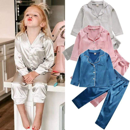 Boy's Pajamas Childrens Kids Pyjamas Silk Satin Tops Pant Fall Winter Long Sleeve Sleepwear Nightwear Girl Boy Pajama Sets AwsomU