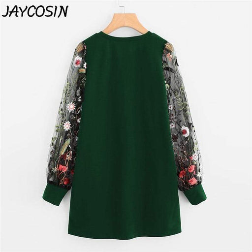 Dresses JAYCOSIN Women Dress Botanical Embroidery Mesh Long Sleeve Pullover Sweatshirt Dress AwsomU