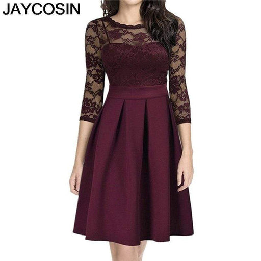 Dresses JAYCOSIN Women Dress Casual Lace Hollow out Three Quarter Ankle Length Vestido AwsomU