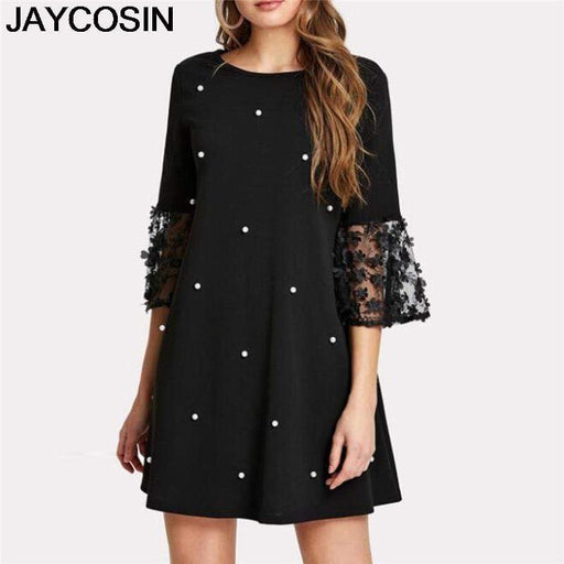 Dresses JAYCOSIN Women Dress Dot Print Spliced Hollow Out Three Quarter Vestido AwsomU