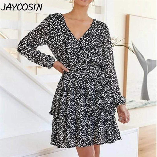 Dresses JAYCOSIN Women Dress Floral Print V Neck A Line Long Sleeve Chiffon Ruffles AwsomU