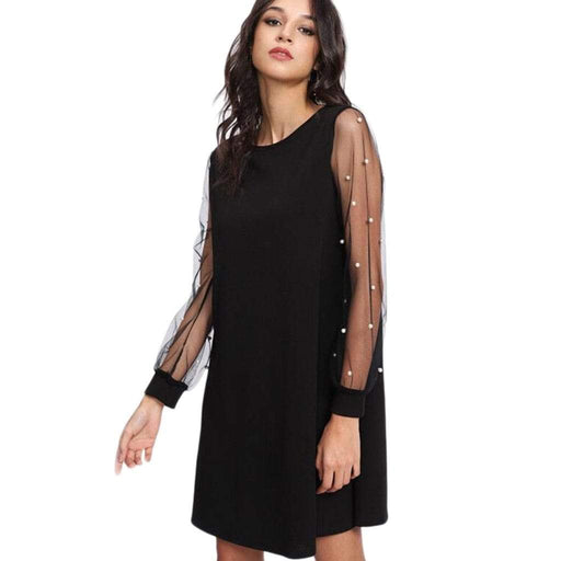 Dresses JAYCOSIN Women Dress Sexy Tunic Solid with Embroidered Beading Floral Mesh Transparent Sleeve AwsomU