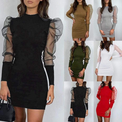 Dresses JAYCOSIN Women Dress Solid O Neck Long Puff Sleeve Perspective Mesh Mini Dress AwsomU