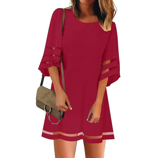 Dresses JAYCOSIN Women Dresses Sexy O Neck Mesh Panel Three Quarter Bell Sleeve Loose AwsomU