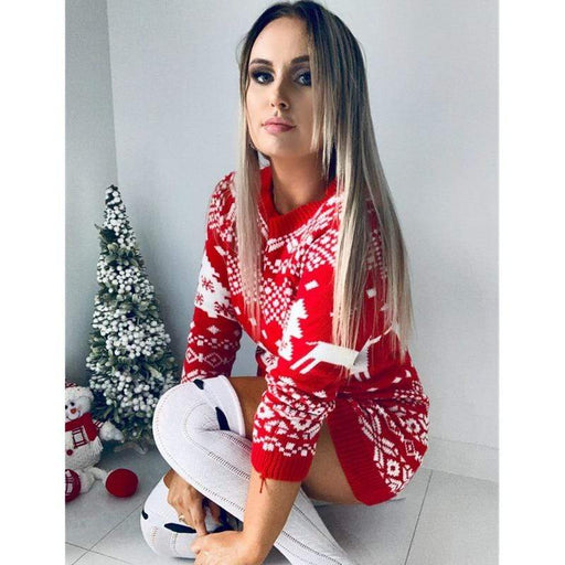 Dresses Women Winter Long Sleeve Loose Christmas Dress AwsomU
