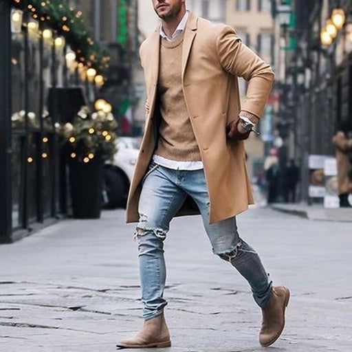 Men's Blazer Men's Brand Fleece Blends Jacket Overcoat Casual Slim Solid Color Trench Coat AwsomU