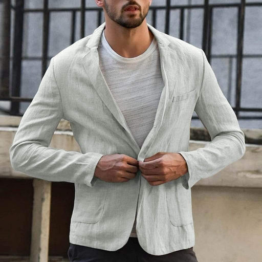 Men's Blazer Men's Linen Blazer Slim Fit Blend With Pocket Solid Color AwsomU