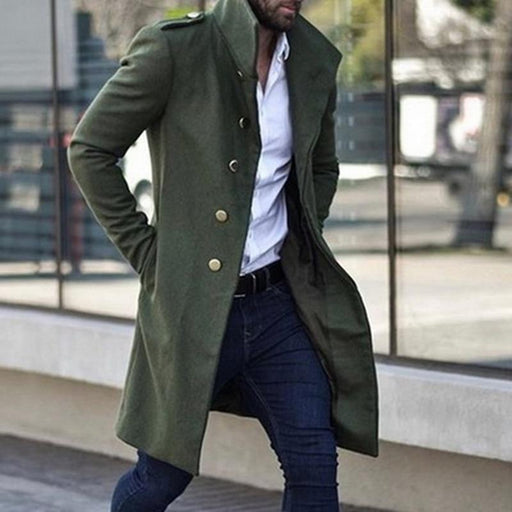 Men's Coat Men's Single Breasted Overcoat Trench Coat Jacket Slim Solid Color Wild Standing Collar AwsomU