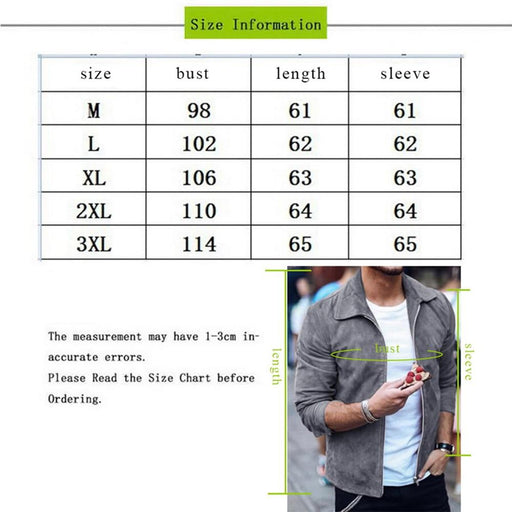 Men's Jacket Men's Fashion Suede Leather Jacket Slim Biker Motorcycle Jacket AwsomU