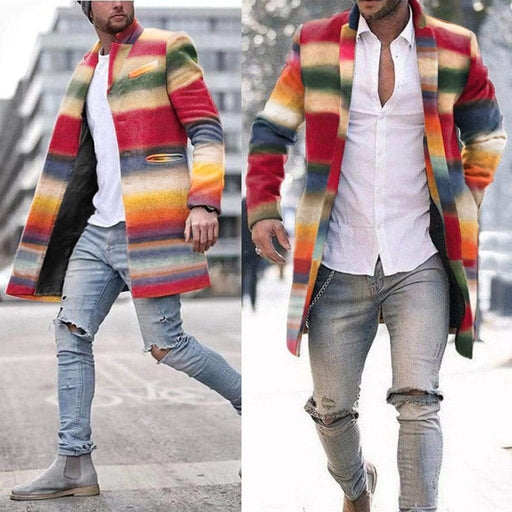 Men's Jacket Winter Wool Coat Men Seven Color Rainbow Stripes Slim Fashion Jackets AwsomU