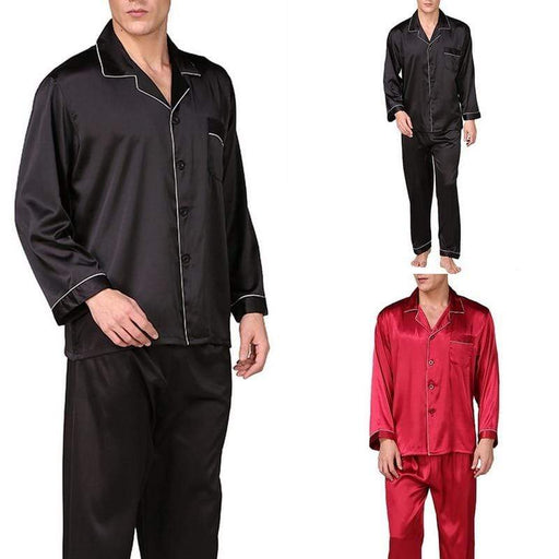 Men's Pajama Sets Men's Premium Stain Silk Pajama Sets Sleepwear Modern Style Soft Comfortable, Color - Red With Rope AwsomU