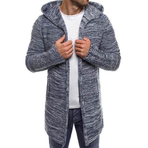 Men's Sweater Men's Jacket Solid Knit Trench Coat Hooded Jacket Cardigan Long Sleeve AwsomU