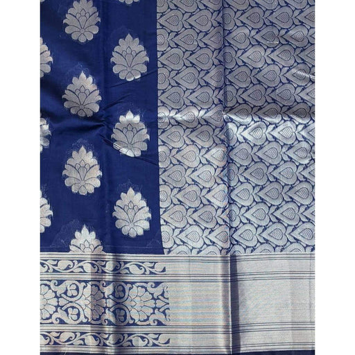 Traditional Sarees Blue Chanderi Silk Saree With Silver Work With Blouse Piece AwsomU