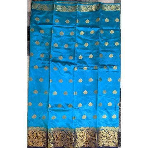 Traditional Sarees Blue Fancy Benarasi with Blouse Piece AwsomU