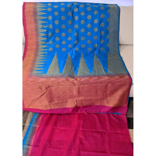 Traditional Sarees Fancy Kanjeevaram Saree in Blue with Fall Pico and Blouse Piece AwsomU