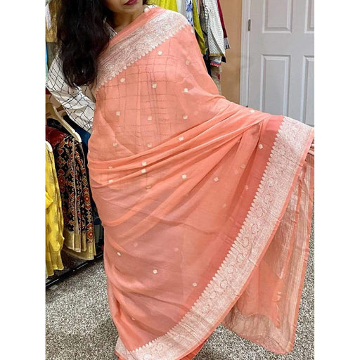 Traditional Sarees Gorgeous Benarasi Chiffon Silk in Peach Pink with Unstiched Blouse Piece Fall Pico done AwsomU