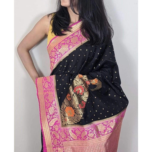 Traditional Sarees Gorgeous Kanjeevaram Saree Black and Pink with Blouse Piece AwsomU