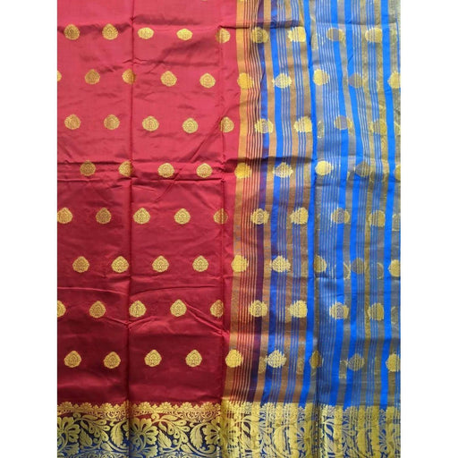 Traditional Sarees Gorgeous Red Fancy Benarasi Saree with Blouse PIece AwsomU