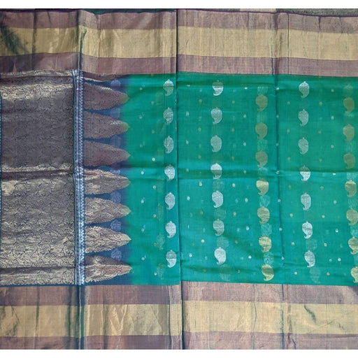 Traditional Sarees Green Fancy Benarsi with Blouse Piece Fall Pico AwsomU