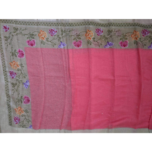 Traditional Sarees Half and Half Linen Saree Pink with Beige Border AwsomU