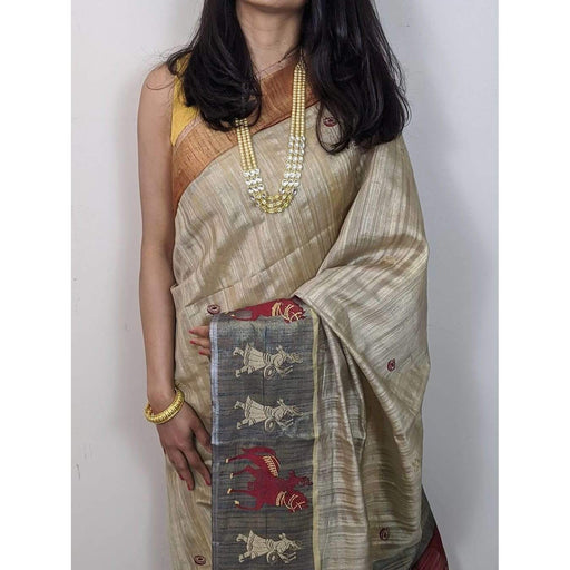 Traditional Sarees Jute Embroidery Silk Saree With Rich Hand Stich Work with Blouse Piece AwsomU