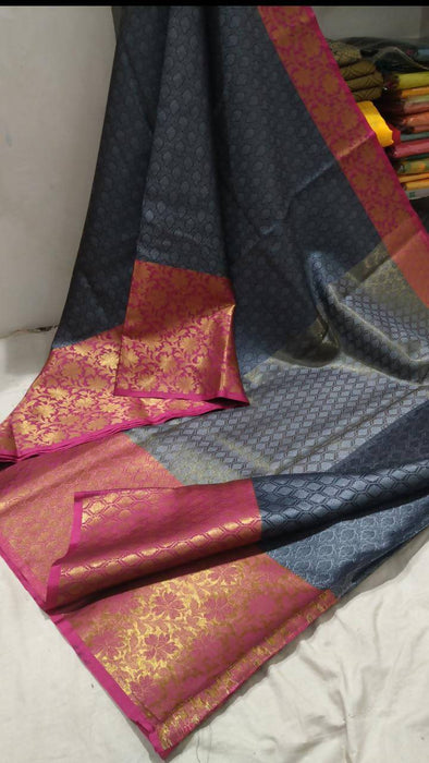 Traditional Sarees Kora Grey Pink Banarasi Silk Saree AwsomU