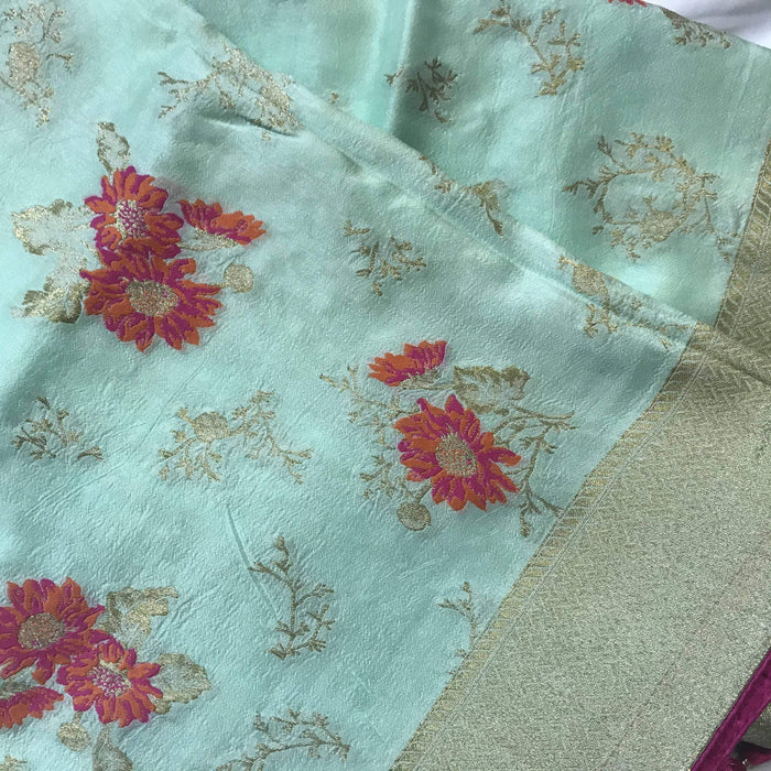 Traditional Sarees Light Sky Blue Moonga Banarashi Saree AwsomU