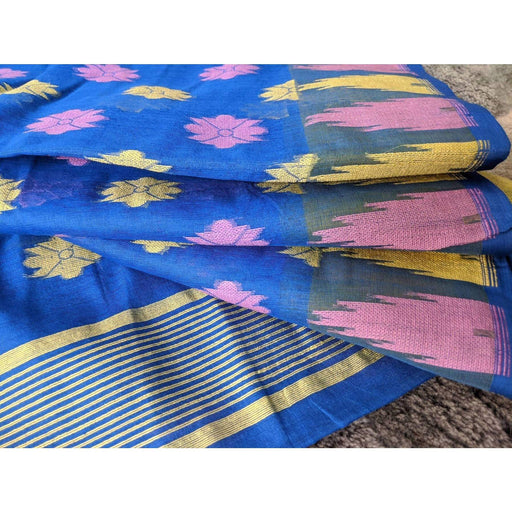 Traditional Sarees Soft Cotton Dhakai with Blouse Piece in Blue AwsomU