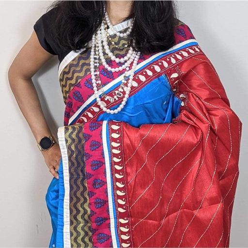 Traditional Sarees Traditional Bengali Boutique Silk Blue Saree With Heavy Embroidery Hand Work With Fall & Pico AwsomU