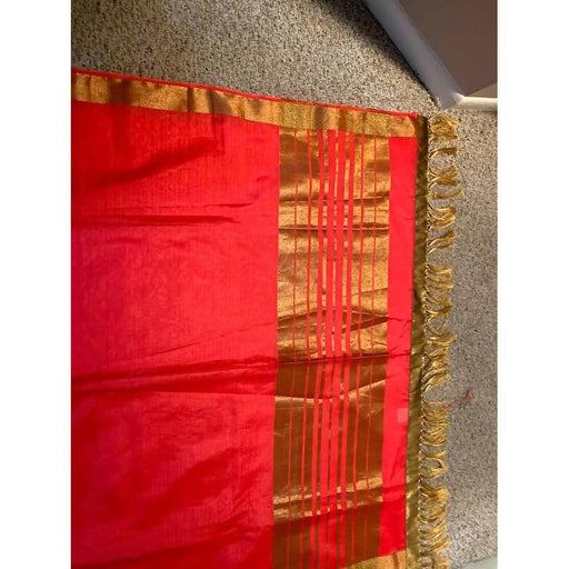 Traditional Sarees Traditional Handloom beautiful red saree for every occasions with blouse piece and fall pico AwsomU