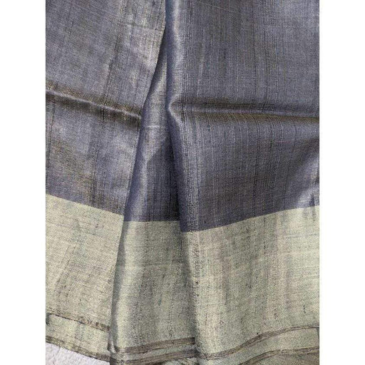 Traditional Sarees Tussar Silk Saree in Gray with Blouse Piece Fall Pico AwsomU