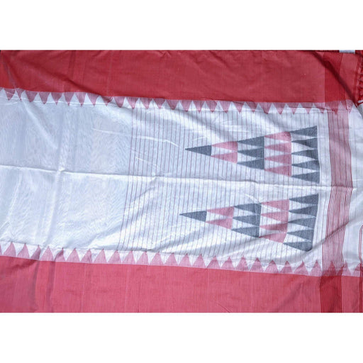Traditional Sarees Tussar Tant Saree in White and Red with Blouse Piece AwsomU