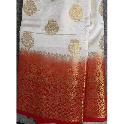 Traditional Sarees White Fancy Benarasi with Red Border with Blouse Piece AwsomU
