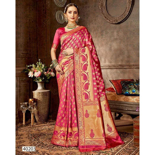 Traditional Sarees Women Jacquard Weave Silk Embroidery Contain Stitched Blouse Petticoat AwsomU