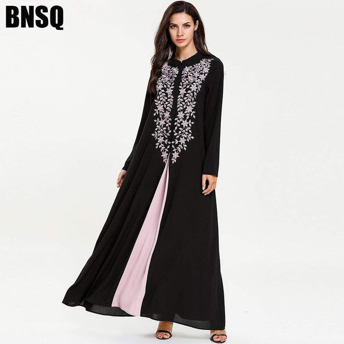 Women's Kurti Long Sleeve Fake Two Pieces Ice silk skirt kurtas for women in Black AwsomU