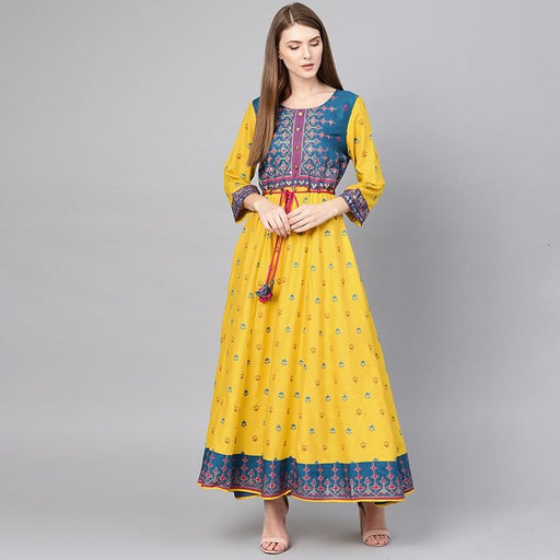 Women's Salwar Woman Pure Cotton Printing Thin Yellow Color Kurta Caftan AwsomU