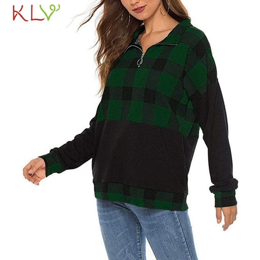Women's Sweatshirt Christmas Shirt Women Plaid Zipper Color Block Top Fashion Long Sleeve AwsomU
