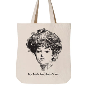Gibson Girl Bitch Face Tote, Letterpress Jess