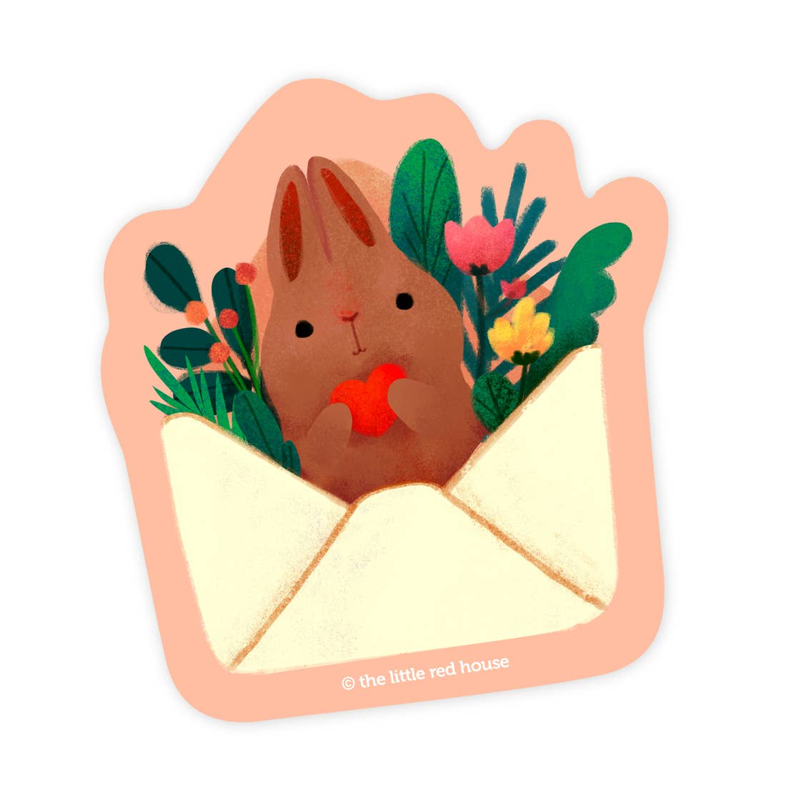 Brown Bunny Mail Sticker, The Little Red House
