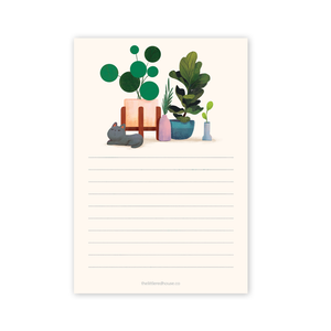Cat Plants Lined Notepad, The Little Red House
